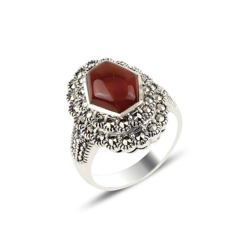 Red Agate & Marcasite Silver Ring - Lemon and Twig