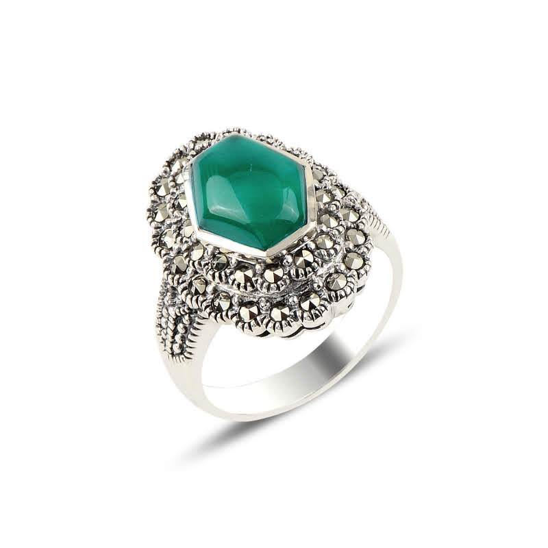 Green Agate & Marcasite Silver Ring - Lemon and Twig