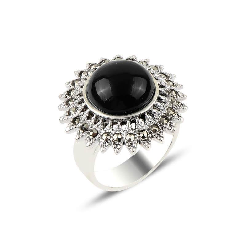 Flower Onyx & Marcasite Sterling Silver Ring - Lemon and Twig