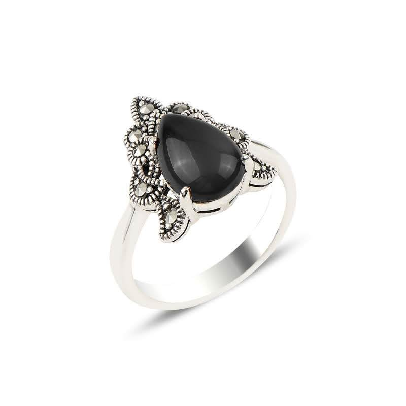 Teardrop Crown Onyx & Marcasite Sterling Silver Ring Lemon & Twig 7 - MED Womens Silver Rings - Lemon and Twig
