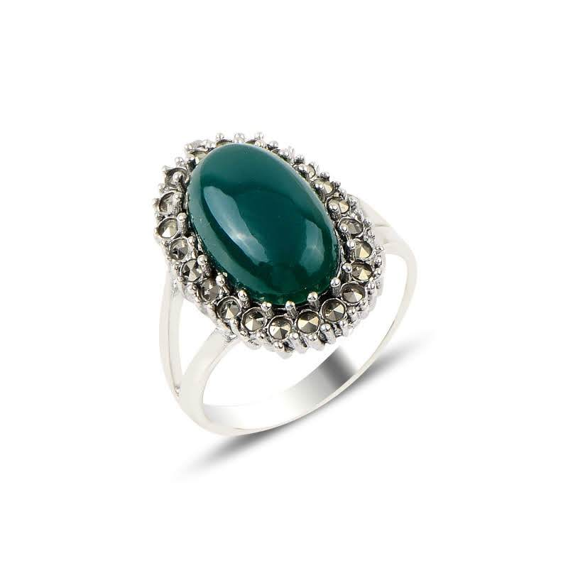 Oval Green Agate & Marcasite Sterling Silver Ring - Lemon and Twig