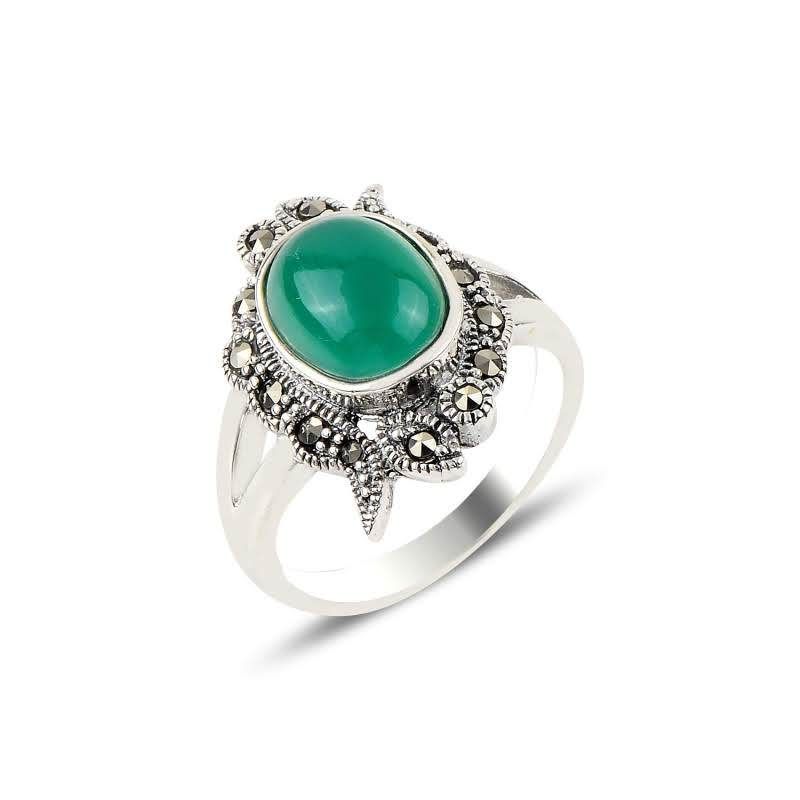 Green Agate Gemstone & Marcasite Sterling Silver Ring - Lemon and Twig