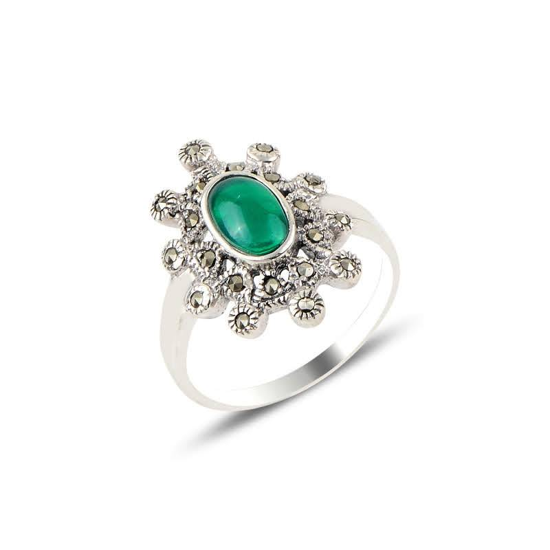 Empress Green Agate And Marcasite Silver Ring - Lemon and Twig
