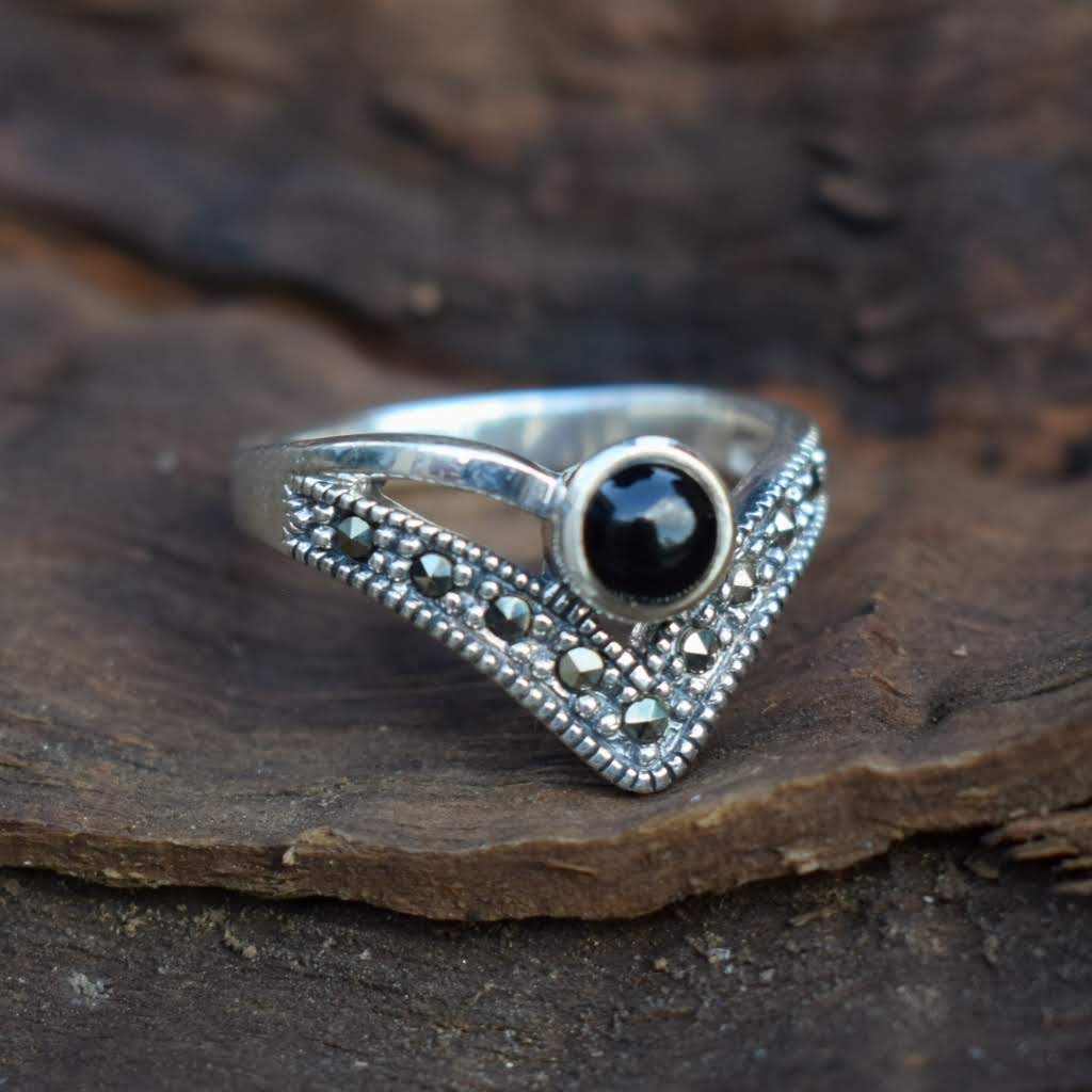 Geometric Onyx & Marcasite Silver Ring - Lemon and Twig