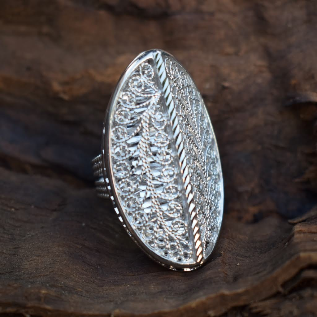 Filigree Sterling Silver Ring - Lemon and Twig