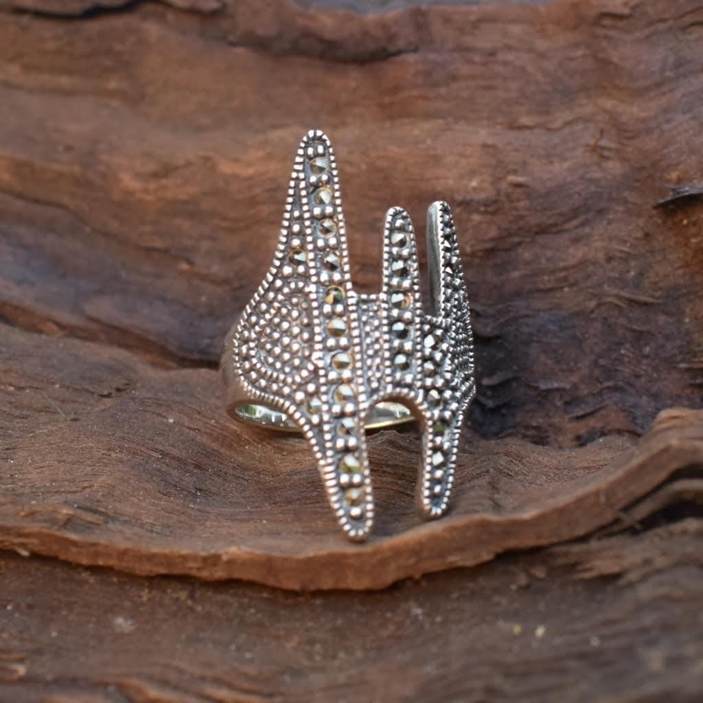 Marcasite And Boho Sterling Silver Ring - Lemon and Twig