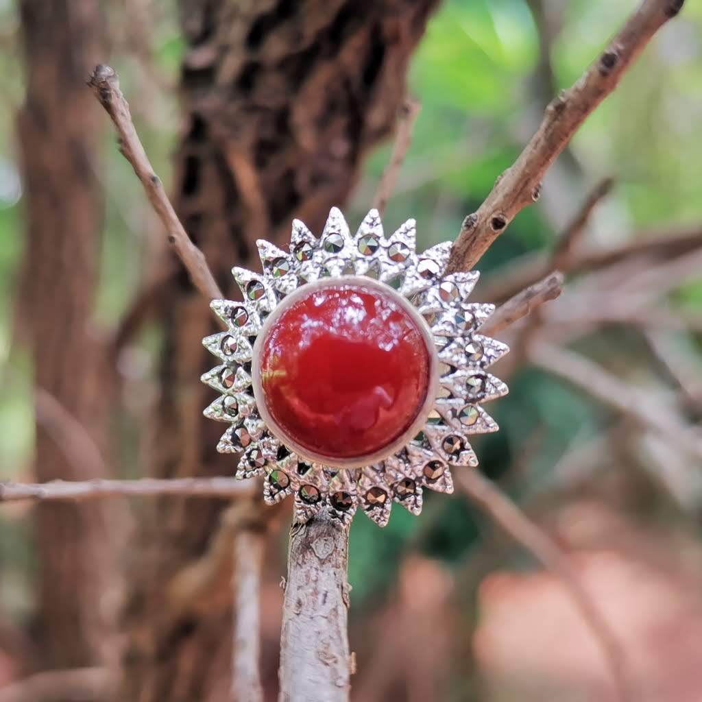 Red Agate & Marcasite Sterliing Silver Ring - Lemon and Twig