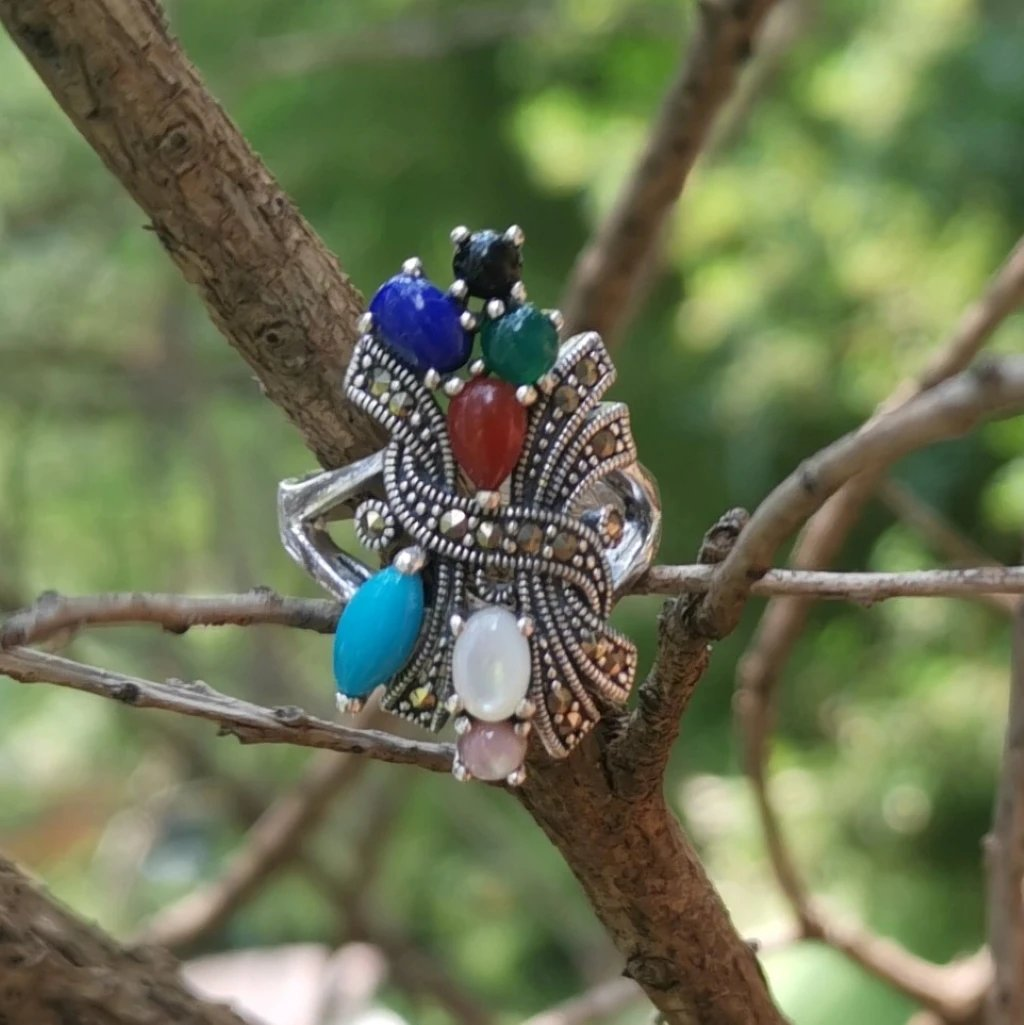 Mix Gemstones & Marcasite Sterling Silver Silver Ring - Lemon and Twig