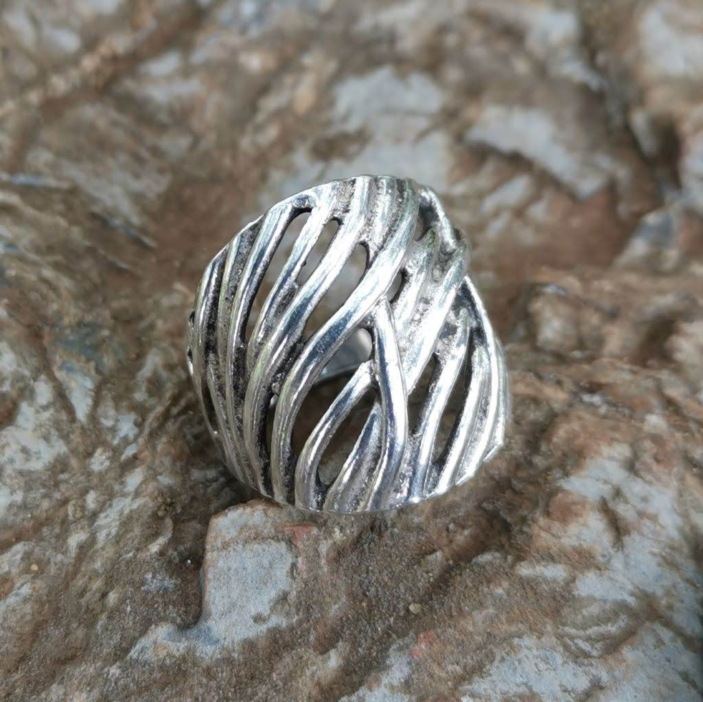 Straw Boho Sterling Silver Ring - Lemon and Twig