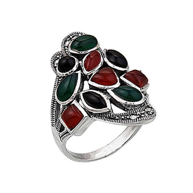 Marcasite Multi Colour Mix Gemstone Sterling Silver Ring - Lemon and Twig
