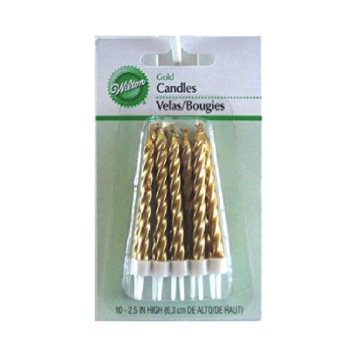 Wilton Solid Gold Candles with Holder 10 pieces