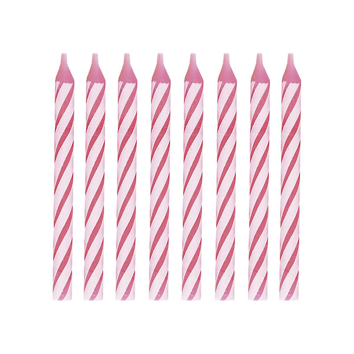 "PINK STRIPED CANDLES 2.5"" PACK OF 24"