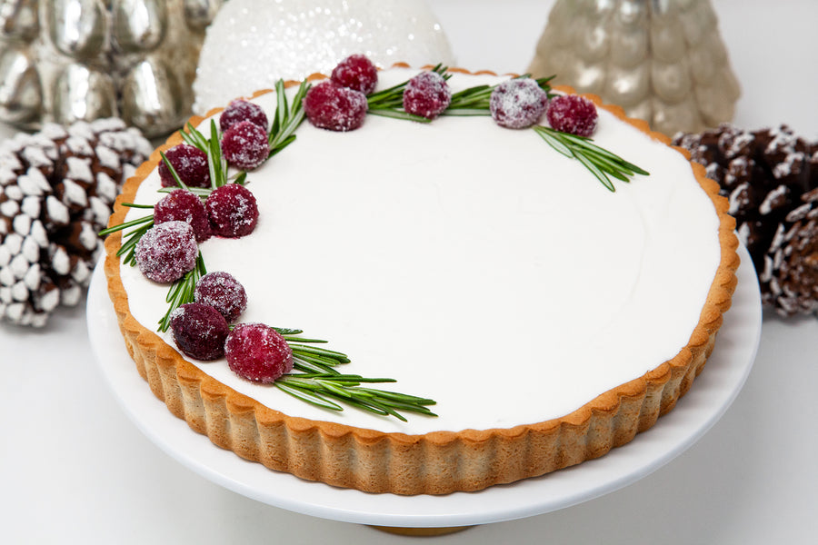 "9"" White Chocolate Mousse & Cranberry Tart - Bunner's Bakeshop"