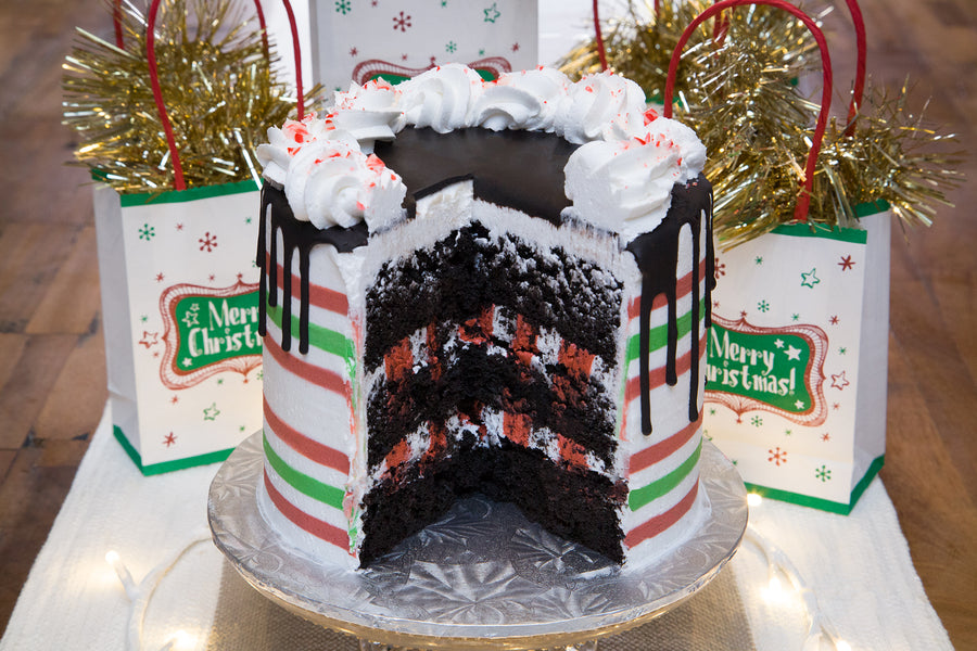 Candy Cane Christmas Cake - Bunner's Bakeshop