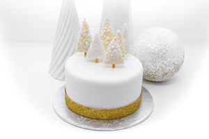 White Christmas Fondant Holiday Cake