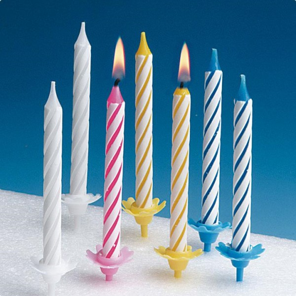 "ASSORTED STRIPED CANDLES WITH HOLDER 2.5"" PACK OF 24"