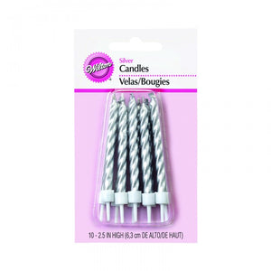 Wilton Solid Silver Candles with Holder 10 pieces