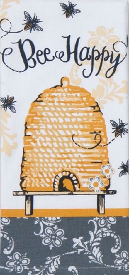 Kitchen Towel- Terry Cloth Bee Happy