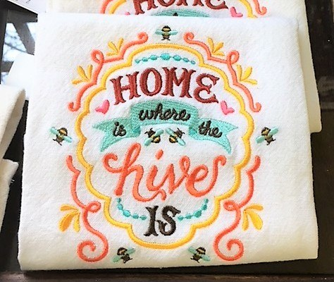 Embroidered Towel- Home is Where the Hive is