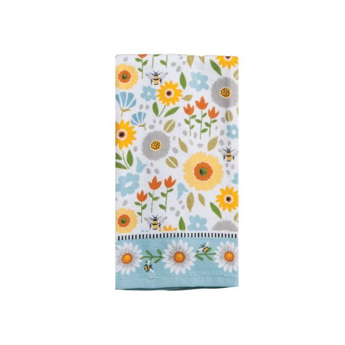 Kitchen Towel- Terry Cloth Flowers and Bumble