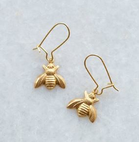 Brass Bee Earring on gold plated stud