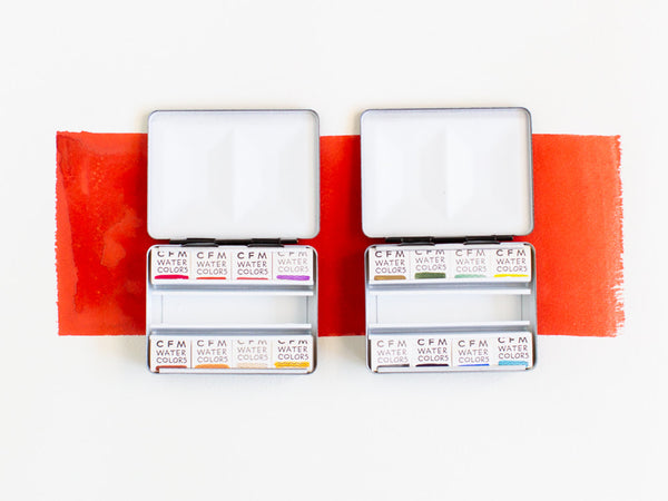 8 Color Travel Watercolor Set by Case for Making