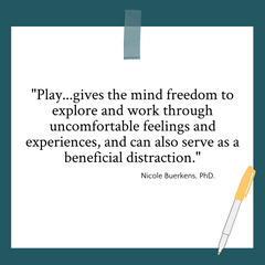 """Quote graphic on play by Nicole Buerkens, PhD. """"Play...gives the mind freedom to explore and word through uncomfortable feelings and experiences, and can also serve as a beneficial distraction."""""""