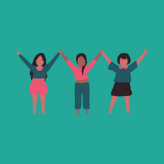 Three women standing hand-in-hand with arms raised