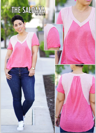 Saldana T-Shirt Digital Pattern by Mimi G