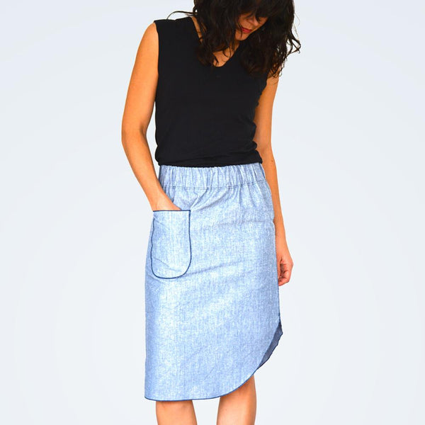 Roma Midi Skirt PDF Pattern by Halfmoon Atelier finished skirt