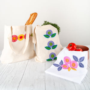Fabric Stamping Kit Finished Projects (L-R) Tote Bag in Tomato, Tote Bag in Plum, Tea Towel in Berry