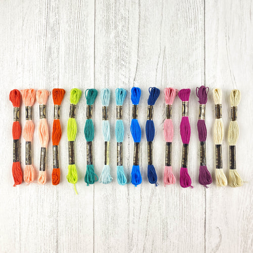 Colored embroidery floss for Paper Embroidery