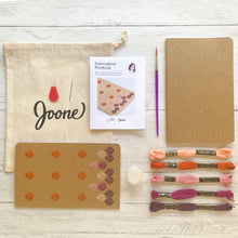 Load image into Gallery viewer, Embroidered notebook mini kit by Karen Barbe. Perfect for beginners