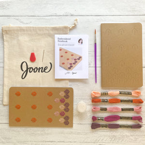 Embroidered notebook mini kit by Karen Barbe. Perfect for beginners