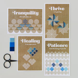 Affirmation cards embroidered with Winter palette