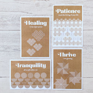 Affirmation cards come pre-punched and ready to stitch