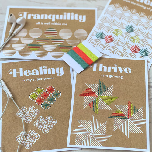 Embroidered affirmation cards