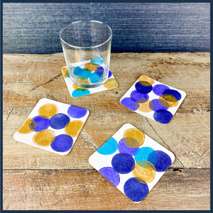 Polka Dot coasters stamped in blues and gold