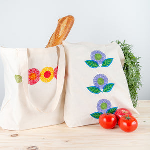 Fabric Stamping Tote Bags shown in Tomato (L) and Plum (R)