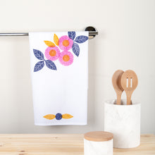 Load image into Gallery viewer, Fabric Stamping Kit Tea Towel shown in Berry