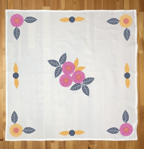Tea towel stamped with the intermediate design in the Berry color palette