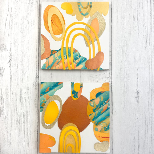 Paper Collage Kit - large wood panels shown in beach color palette