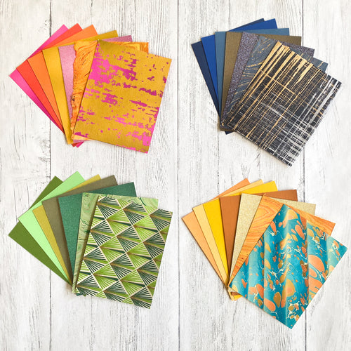 Paper Collage Sets available in four color palettes