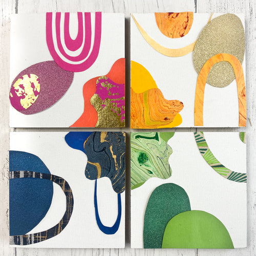 Paper Collage Kit - small wood panels