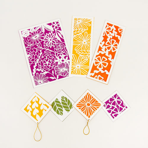 Botanical cut paper patterns shown in Maple color palette