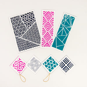 Geometric cut paper patterns shown in Orchid color palette