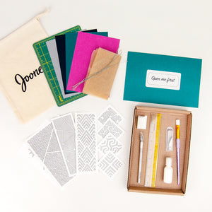 Paper Cutting Foundations Kit by Alisa Blundon shown with Orchid palette backing cards and geometric patterns