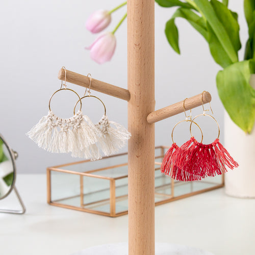 Macramé Jewelry Kit Earrings shown in Natural and Rose