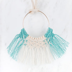 Macramé necklace shown in Hydrangea