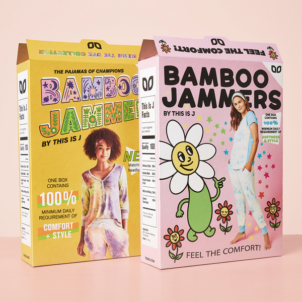 Retro cereal box packaging for bamboo jammers tie dye collection